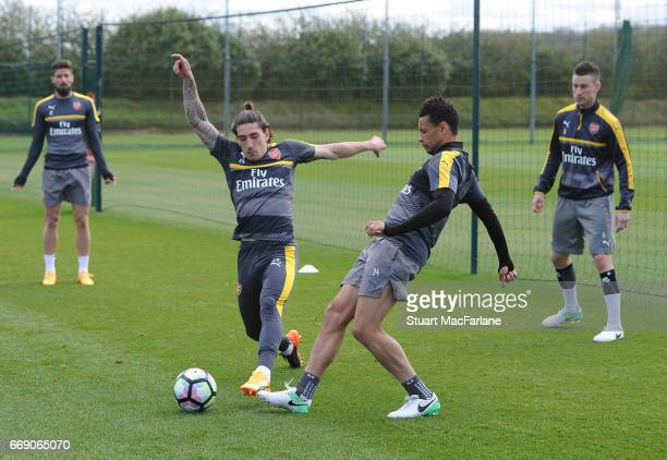 LR0 Hector Bellerin and Francis Coquelin of Arsenal during a training session at London Colney on April 16 2017 in St Albans England