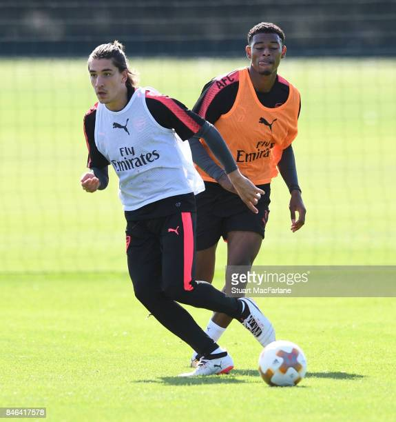 Hector Bellerin and Jeff ReineAdelaide of Arsenal during a training session at London Colney on September 13 2017 in St Albans England