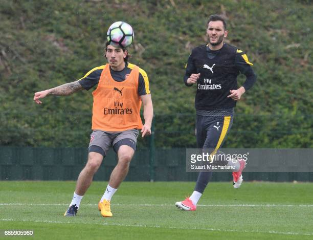 Hector Bellerin and Lucas Perez of Arsenal during a training session at London Colney on May 20 2017 in St Albans England