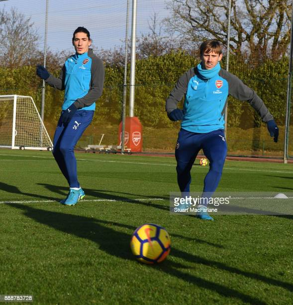 Hector Bellerin and Nacho Monreal of Arsenal during a training session at London Colney on December 9 2017 in St Albans England