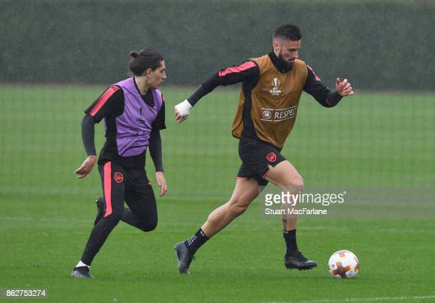 Hector Bellerin and Olivier Giroud of Arsenal during a training session at London Colney on October 18 2017 in St Albans England