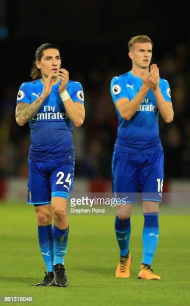 Hector Bellerin and Rob Holding of Arsenal look on in defeat the Premier League match between Watford and Arsenal at Vicarage Road on October 14 2017...