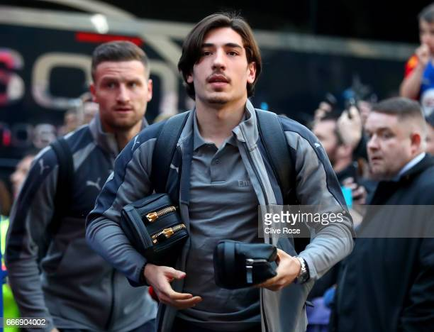Hector Bellerin and Shkodran Mustafi of Arsenal arrive prior to the Premier League match between Crystal Palace and Arsenal at Selhurst Park on April...