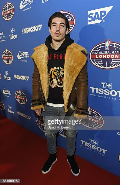 Hector Bellerin attends the Denver Nuggets v Indiana Pacers game during NBA Global Games London 2017 at The O2 Arena on January 12 2017 in London...