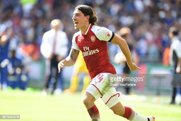 Hector Bellerin celebrates Arsenal's win after the FA Community Shield match between Chelsea and Arsenal at Wembley Stadium on August 6 2017 in...