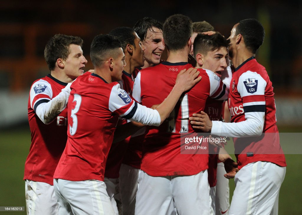 Hector Bellerin celebrates scoring Arsenal's 2nd goal with his team mates during the Barclays Premier U21 match between Arsenal U21 and Manchester United U21 at Underhill Stadium on March 20, 2013 in Barnet, United Kingdom.