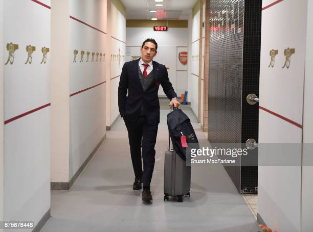 Hector Bellerin in the Arsenal changing room before the Premier League match between Arsenal and Tottenham Hotspur at Emirates Stadium on November 18...