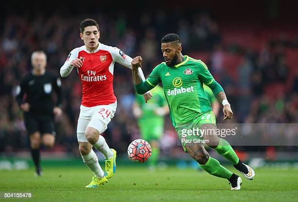 Hector Bellerin of Arsenal and Jeremain Lens during the Emirates FA Cup Third Round match bewtween Arsenal and Sunderland at Emirates Stadium on...