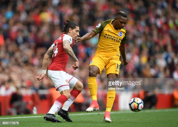Hector Bellerin of Arsenal and Jose Izquierdo of Brighton and Hove Albion battle for possession during the Premier League match between Arsenal and...