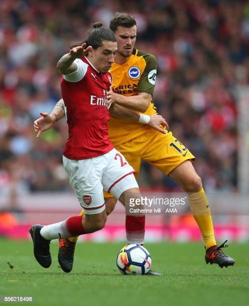 Hector Bellerin of Arsenal and Pascal Gross of Brighton and Hove Albion during the Premier League match between Arsenal and Brighton and Hove Albion...