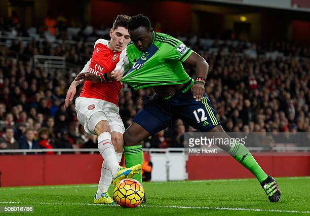 Hector Bellerin of Arsenal and Victor Wanyama of Southampton compete for the ball during the Barclays Premier League match between Arsenal and...