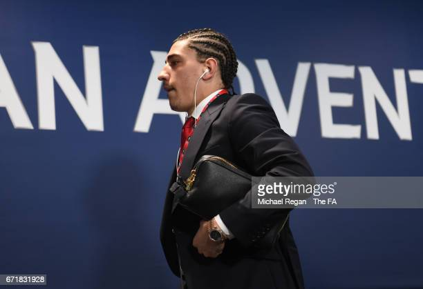 Hector Bellerin of Arsenal arrives at the stadium prior to the Emirates FA Cup SemiFinal match between Arsenal and Manchester City at Wembley Stadium...