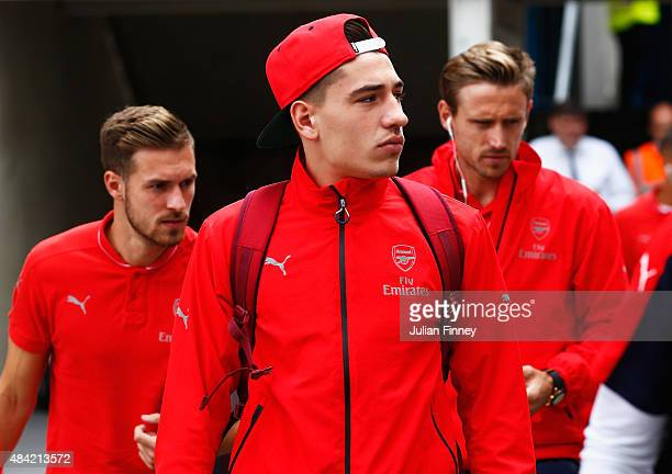 Hector Bellerin of Arsenal arrives with Aaron Ramsey and Nacho Monreal prior to the Barclays Premier League match between Crystal Palace and Arsenal...