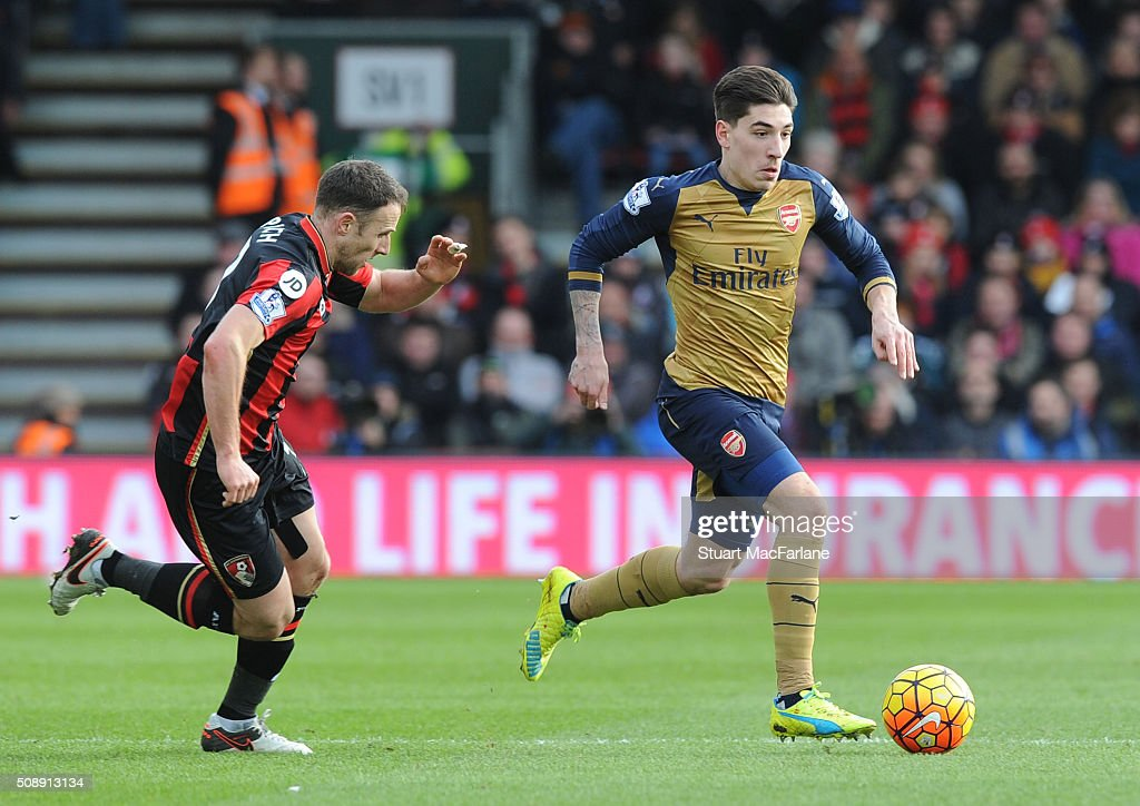 Hector Bellerin of Arsenal breaks past <a gi-track='captionPersonalityLinkClicked' href=/galleries/search?phrase=Marc+Pugh&family=editorial&specificpeople=5831744 ng-click='$event.stopPropagation()'>Marc Pugh</a> of Bournemouth during the Barclays Premier League match between AFC Bournemouth and Arsenal at The Vitality Stadium on February 7, 2016 in Bournemouth, England. (Photo by Stuart MacFarlane/Arsenal FC via Getty Images