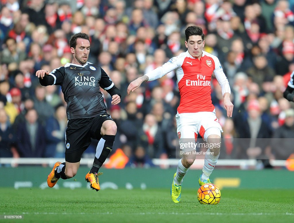 Hector Bellerin of Arsenal challenged by Christian Fuches of Leicester during the Barclays Premier League match between Arsenal and Leicester City at Emirates Stadium on February 14, 2016 in London, England.