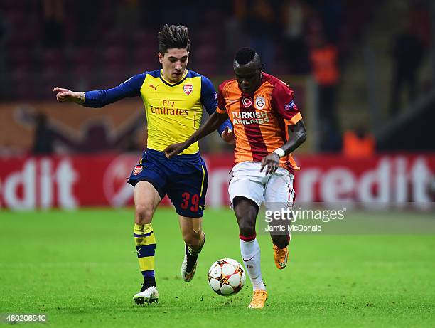 Hector Bellerin of Arsenal chases the ball with Bruma of Galatasaray during the UEFA Champions League Group D match between Galatasaray AS and...