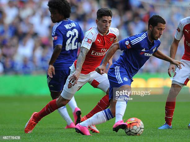Hector Bellerin of Arsenal closes down Eden Hazard of Chelsea during the FA Community Shield match between Chelsea and Arsenal at Wembley Stadium on...