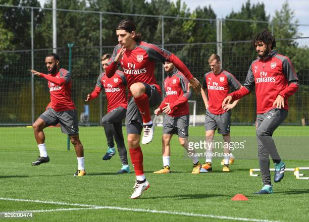 Hector Bellerin of Arsenal during a training session at London Colney on August 10 2017 in St Albans England