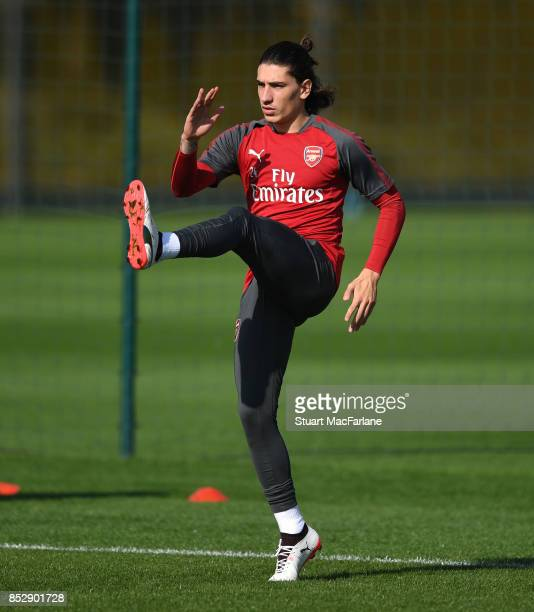 Hector Bellerin of Arsenal during a training session at London Colney on September 24 2017 in St Albans England