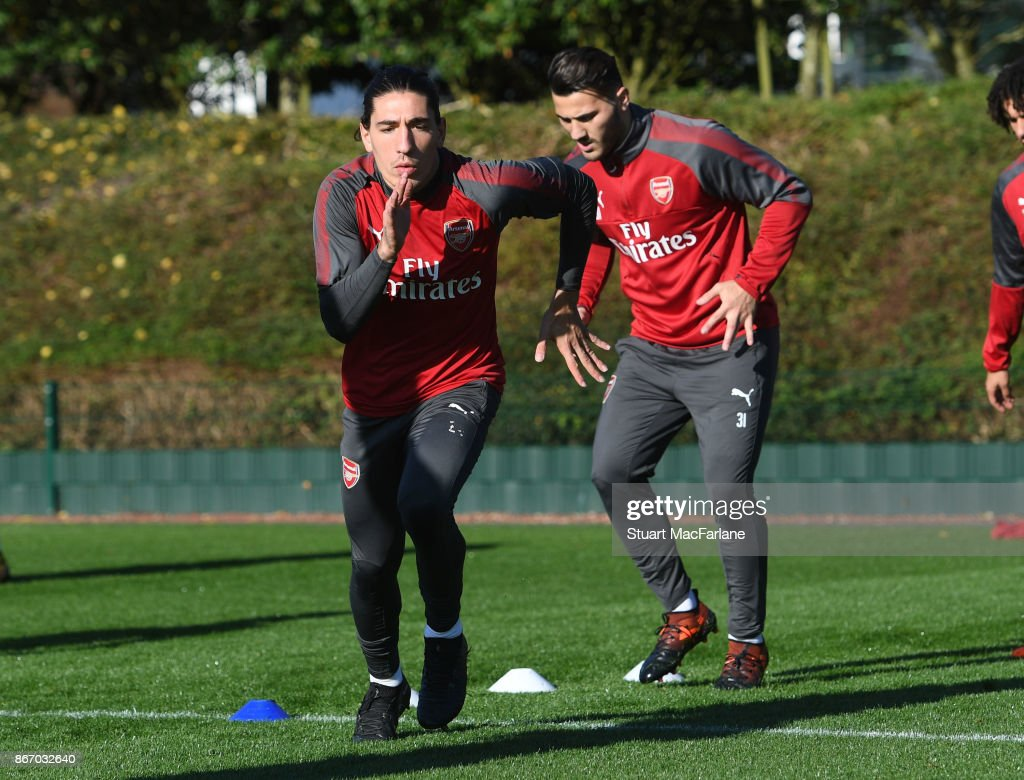 Hector Bellerin of Arsenal during a training session at London Colney on October 27, 2017 in St Albans, England.