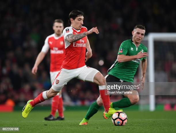 Hector Bellerin of Arsenal during the Emirates FA Cup QuarterFinal between Arsenal and Lincoln City at Emirates Stadium on March 11 2017 in London...