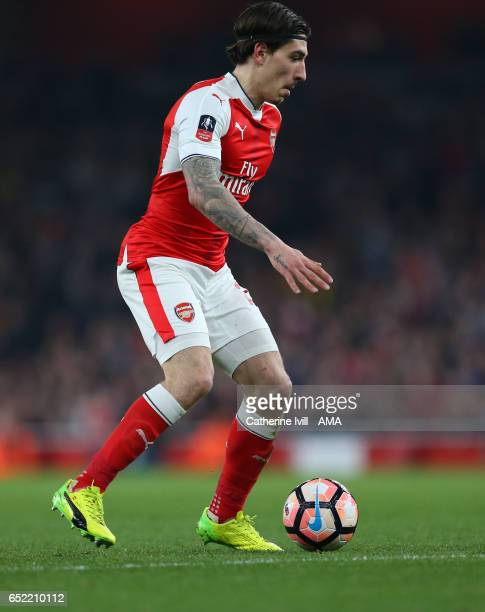 Hector Bellerin of Arsenal during The Emirates FA Cup QuarterFinal match between Arsenal and Lincoln City at Emirates Stadium on March 11 2017 in...