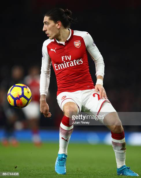 Hector Bellerin of Arsenal in action during the Premier League match between Arsenal and Manchester United at Emirates Stadium on December 2 2017 in...