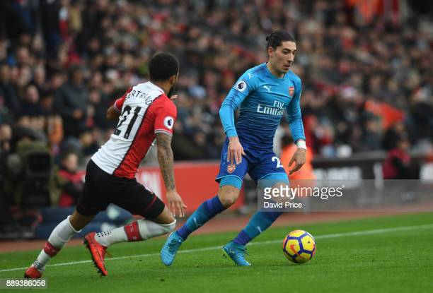 Hector Bellerin of Arsenal is closed down by Ryan Bertrand of Southampton during the Premier League match between Southampton and Arsenal at St...