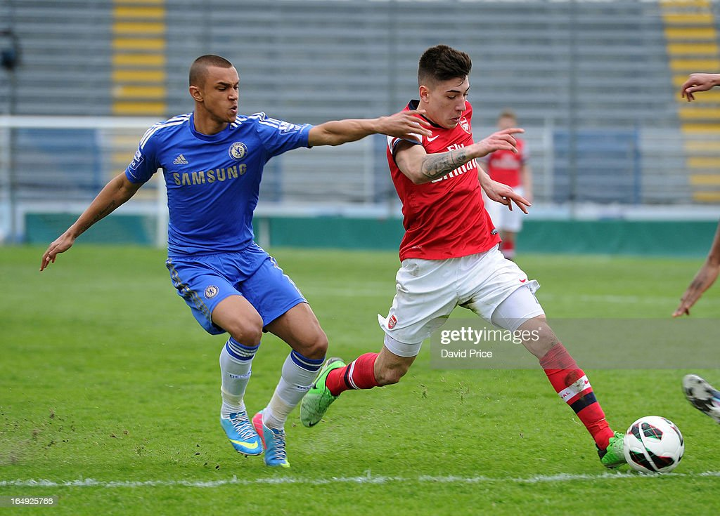Hector Bellerin of Arsenal is pulled back by Conor Hunter of Chelsea during the NextGen Series Semi Final match between Arsenal and Chelsea at Stadio Guiseppe Sinigallia on March 29, 2013 in Como, Italy.