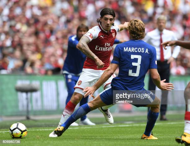 Hector Bellerin of Arsenal knocks the ball past Marcos Alonso of Chelsea during the match between Chelsea and Arsenal at Wembley Stadium on August 6...