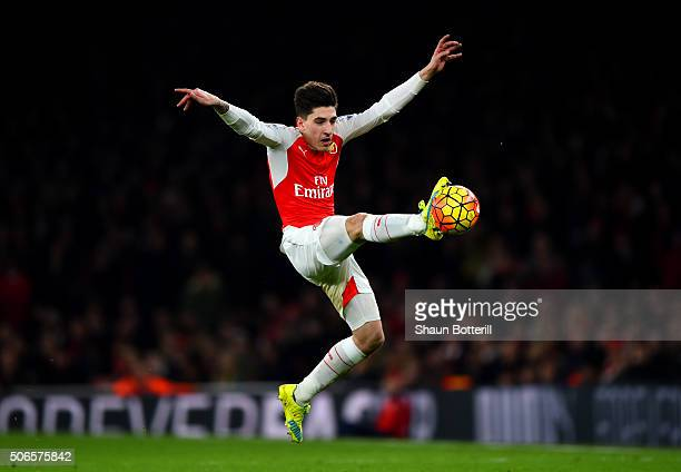 Hector Bellerin of Arsenal leaps to control the ball during the Barclays Premier League match between Arsenal and Chelsea at Emirates Stadium on...