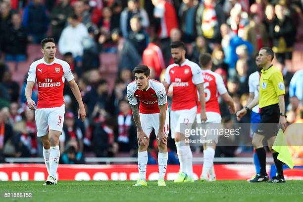 Hector Bellerin of Arsenal looks dejected following the Barclays Premier League match between Arsenal and Crystal Palace at the Emirates Stadium on...