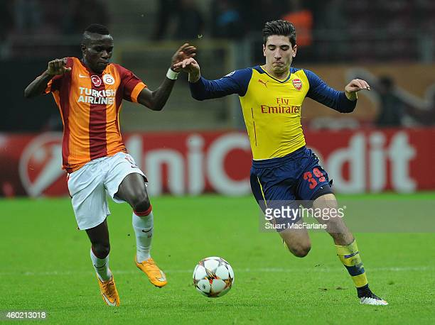 Hector Bellerin of Arsenal takes on Bruma of Galatasaray during the UEFA Champions League match between Galatasaray and Arsenal at the Turk Telekom...
