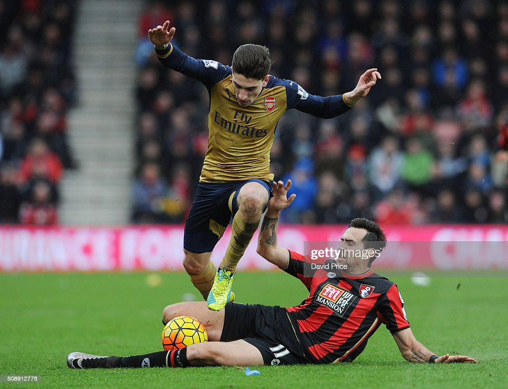 Hector Bellerin of Arsenal takes on <a gi-track='captionPersonalityLinkClicked' href=/galleries/search?phrase=Charlie+Daniels+-+Soccer+Player&family=editorial&specificpeople=12457444 ng-click='$event.stopPropagation()'>Charlie Daniels</a> of Bournemouth during the Barclays Premier League match between AFC Bournemouth and Arsenal at The Vitality Stadium, Bournemouth 7th February 2016.