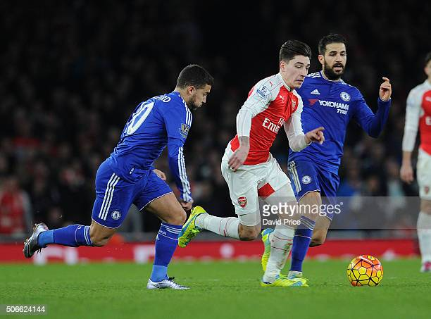 Hector Bellerin of Arsenal takes on Eden Hazard and Cesc Fabregas of Chelsea dduring the Barclays Premier League match between Arsenal and Chelsea...