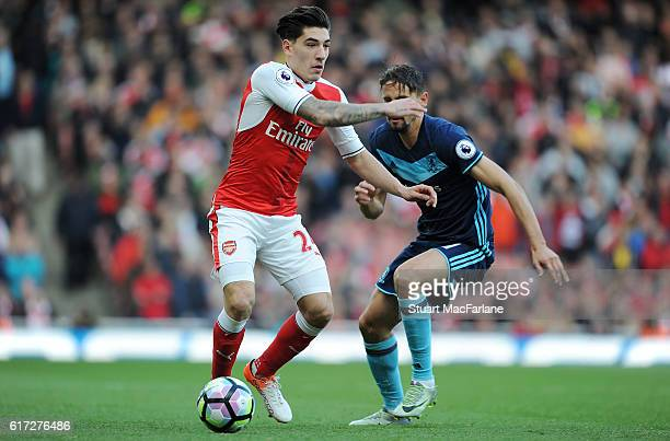Hector Bellerin of Arsenal takes on Gaston Ramirez of Middlesbrough during the Premier League match between Arsenal and Middlesbrough at Emirates...