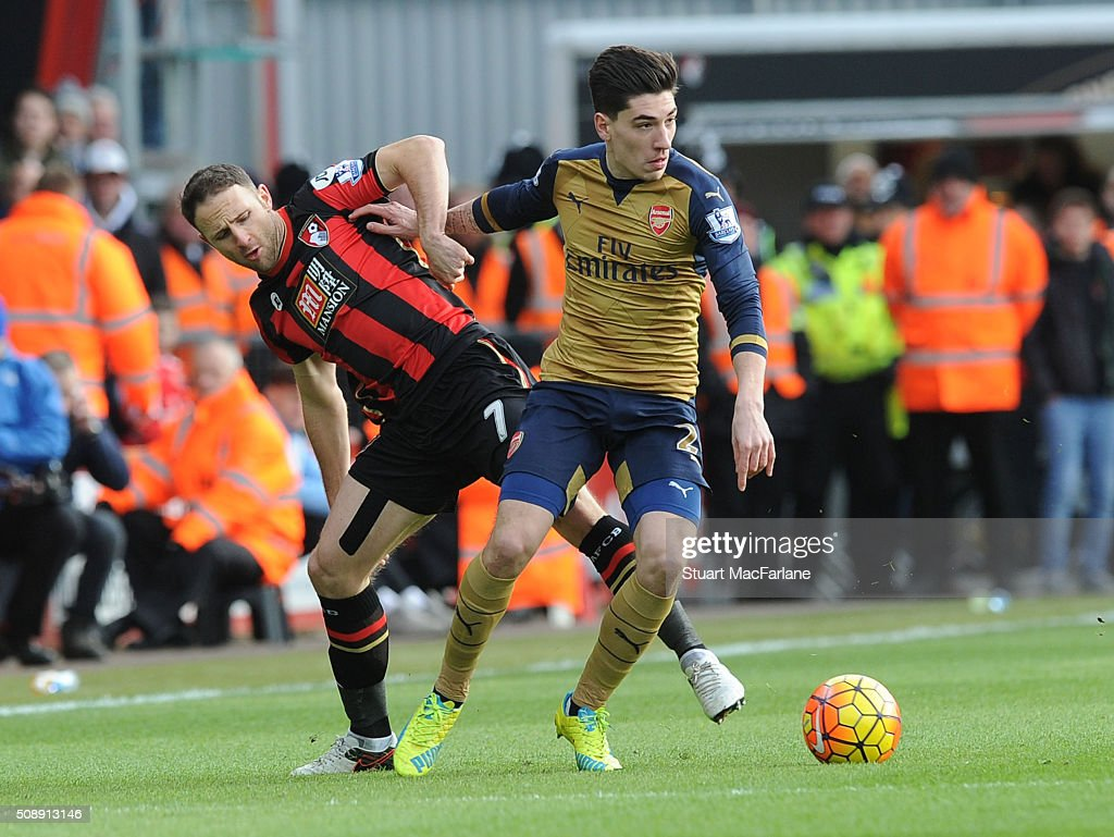 Hector Bellerin of Arsenal takes on <a gi-track='captionPersonalityLinkClicked' href=/galleries/search?phrase=Marc+Pugh&family=editorial&specificpeople=5831744 ng-click='$event.stopPropagation()'>Marc Pugh</a> of Bournemouth during the Barclays Premier League match between AFC Bournemouth and Arsenal at The Vitality Stadium on February 7, 2016 in Bournemouth, England. (Photo by Stuart MacFarlane/Arsenal FC via Getty Images