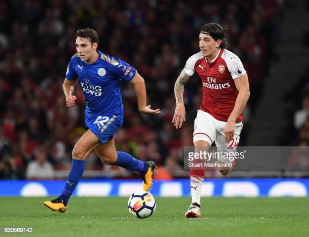 Hector Bellerin of Arsenal takes on Matty James of Leicester during the Premier League match between Arsenal and Leicester City at Emirates Stadium...