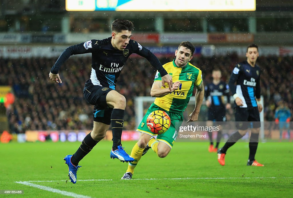Hector Bellerin of Arsenal takes on Robbie Brady of Norwich City during the Barclays Premier League match between Norwich City and Arsenal at Carrow...