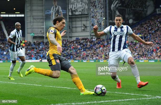Hector Bellerin of Arsenal under pressure from Jake Livermore of WBA during the Premier League match between West Bromwich Albion and Arsenal at The...