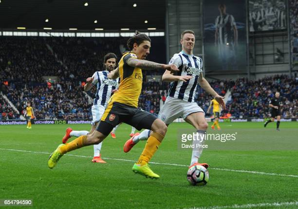Hector Bellerin of Arsenal under pressure from Jonny Evans of WBA during the Premier League match between West Bromwich Albion and Arsenal at The...