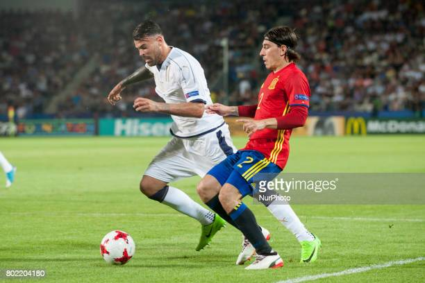 Hector Bellerin of Spain and Andrea Petagna of Italy during the UEFA European Under21 Championship SemiFinal match between Spain and Italy at Krakow...