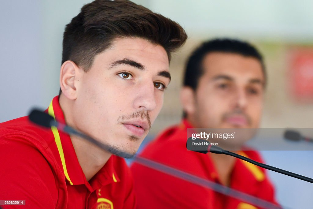 Hector Bellerin of Spain faces the media during a press conference before a training session on May 30, 2016 in Schruns, Austria.