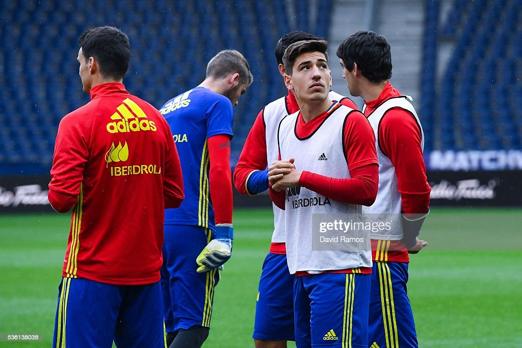 Hector Bellerin of Spain looks on during a training session at the Red Bull Arena stadium on May 31, 2016 in Salzburg, Austria.