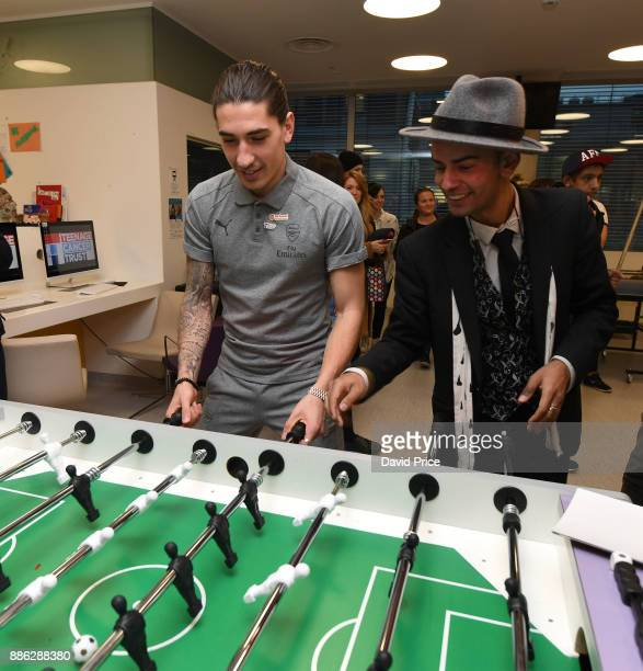 Hector Bellerin visits the Teenage Cancer Trust Unit in University College Hospital on December 5 2017 in London England
