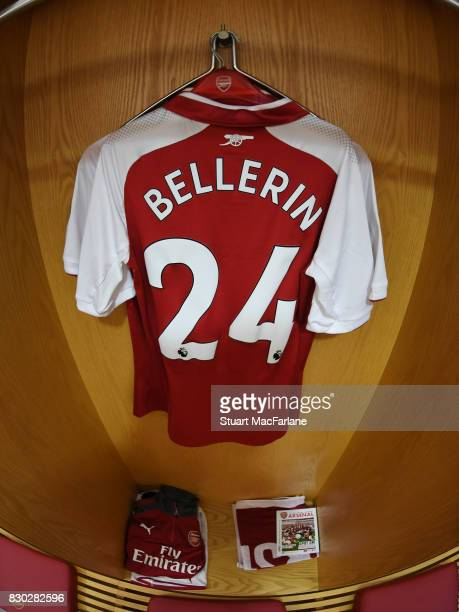 Hector Bellerin's shirt hangs in the home changing room before the Premier League match between Arsenal and Leicester City at Emirates Stadium on...