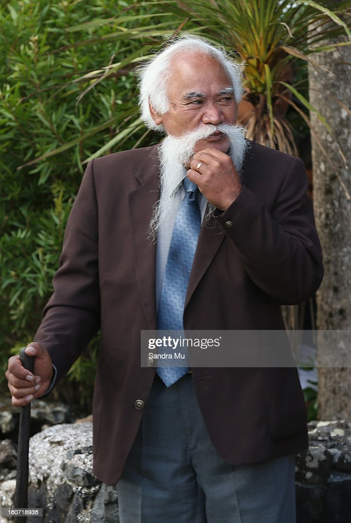 Hector Busby is seen waiting for the New Zealand Prime Minister John Key to arrive at Te Tii Marae on February 5, 2013 in Waitangi, New Zealand. The Waitangi Day national holiday celebrates the signing of the treaty of Waitangi on February 6, 1840 by Maori chiefs and the British Crown, that granted the Maori people the rights of British Citizens and ownership of their lands and other properties.