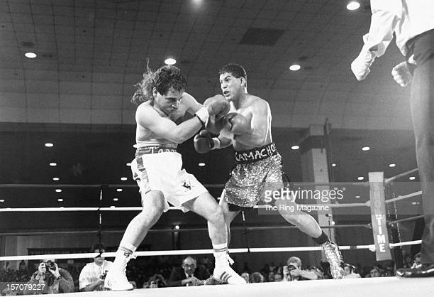 Hector Camacho throws a left punch to Raul Torres during a fight at the Trump Plaza Hotel on November 4 1989 in Atlantic City New Jersey Hector...