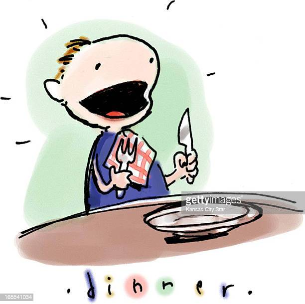 Hector Casanova color illustration of eager kid holding fork and knife at table titled 'Dinner'