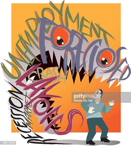 Hector Casanova color illustration of man being engulfed by dragon of fears unemployment foreclosure layoffs and recession
